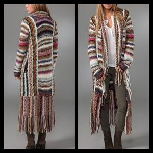 FREE PEOPLE Technicolor Dreamcoat, knit, fringe, S